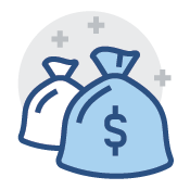 Picture of two money bags icon