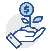 Picture of a open hand with a money plant growing out of it icon