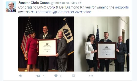 Senator Coons honors Delaware companies who receive export award
