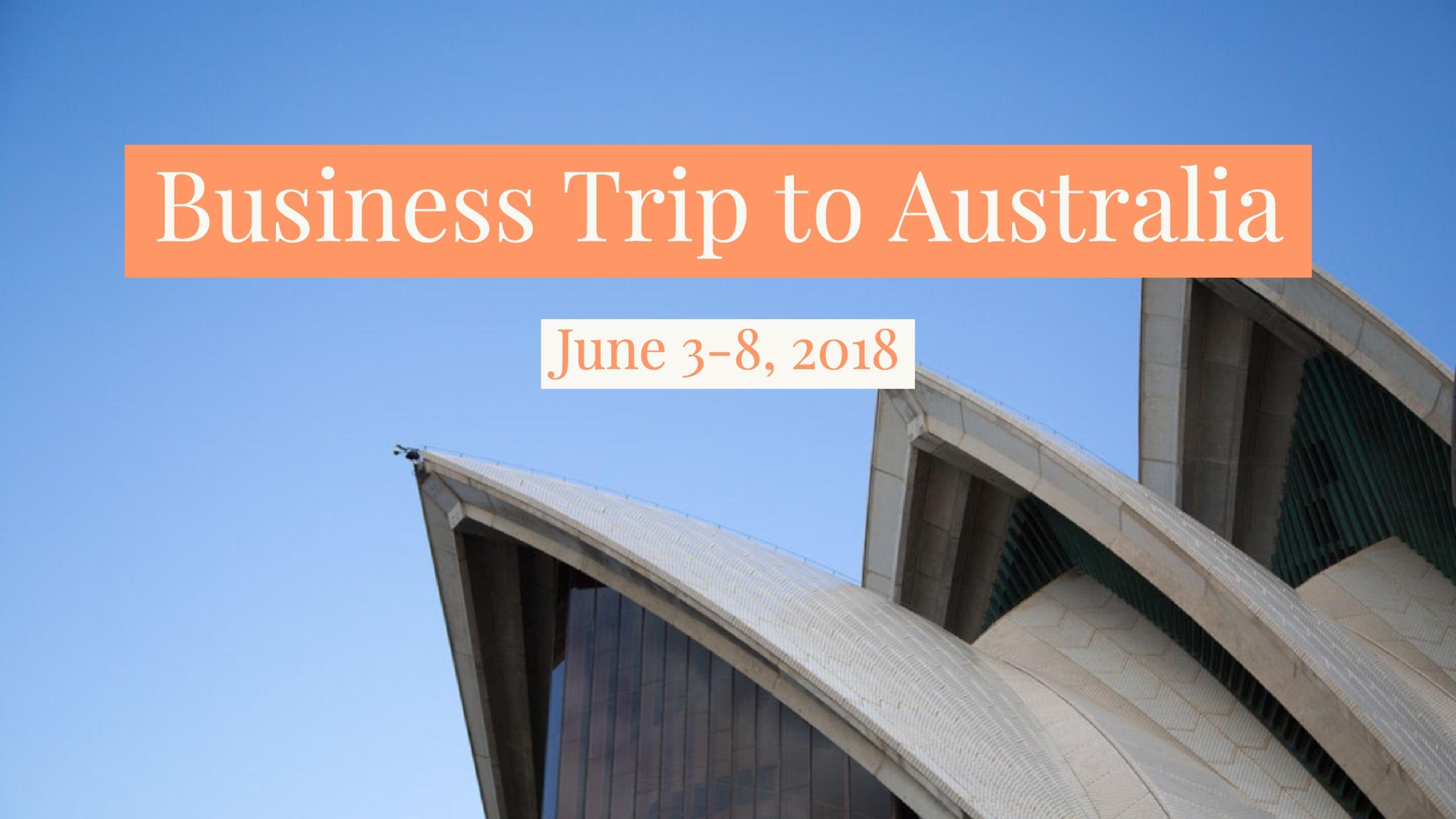 Australia Business Trip